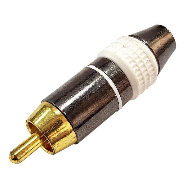 Штекер (138) RCA на кабель 6 мм  Ni/G/Pl -белый-