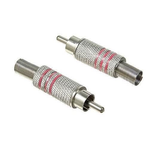 Штекер (142/1) RCA на кабель 5 мм пайка  Ni -красный-