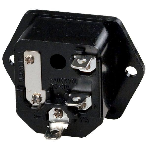 Штекер (157) AC на корпус, с предохранителем  220V/10A 3c