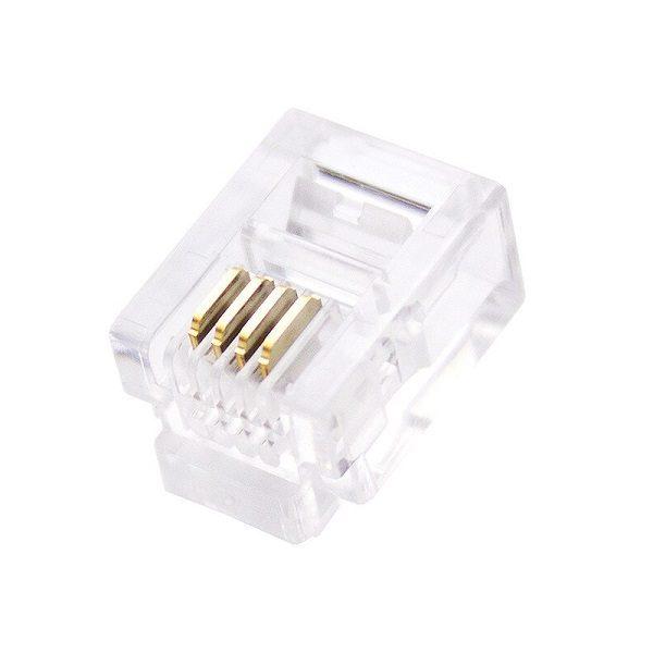 Разъем (187) TP-6P4C (RJ-11) Вилка на кабель, 6*4