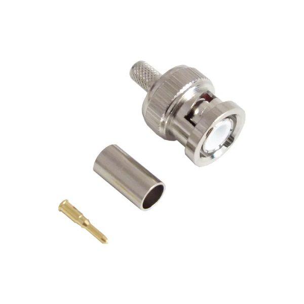 Штекер (209) BNC на кабель RG 58/U обжим  Ni/Gold pin/Delrin