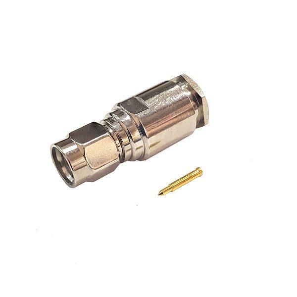 Штекер (237) SMA на кабель RG 58/U пайка  Ni/Gold pin/Delrin
