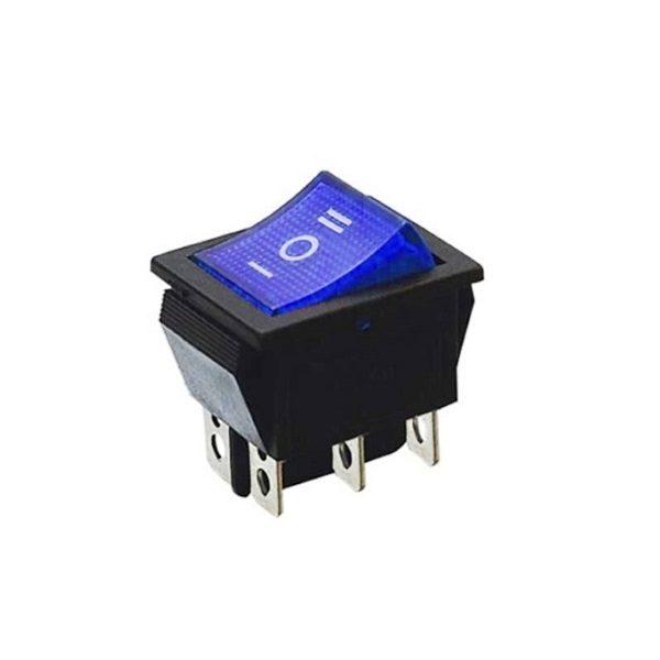 Переключатель (530) ON-OFF-ON RWB-509 neon 15A/250V 6c -синий-
