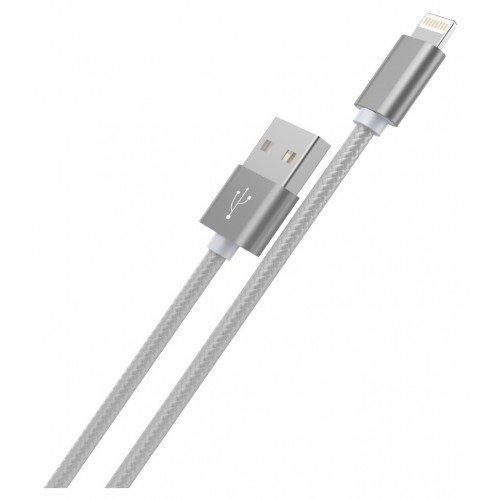 КАБЕЛЬ USB-iPhone 5-8 X2 плетеный серый 1.0м