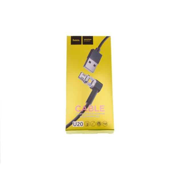КАБЕЛЬ USB-microUSB U20 МАГНИТНЫЙ ЧЕРНЫЙ 1.0м