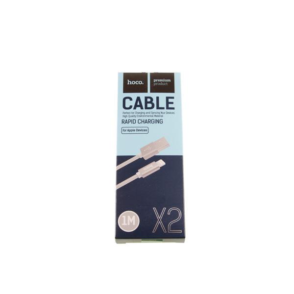Кабель USB iPhone 5-8 X2 плетеный серый 1м Hoco