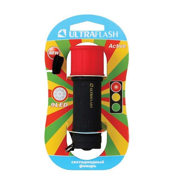 Фонарь LED 15001-A 9 LED Красный  (3xR03) ULTRAFLASH