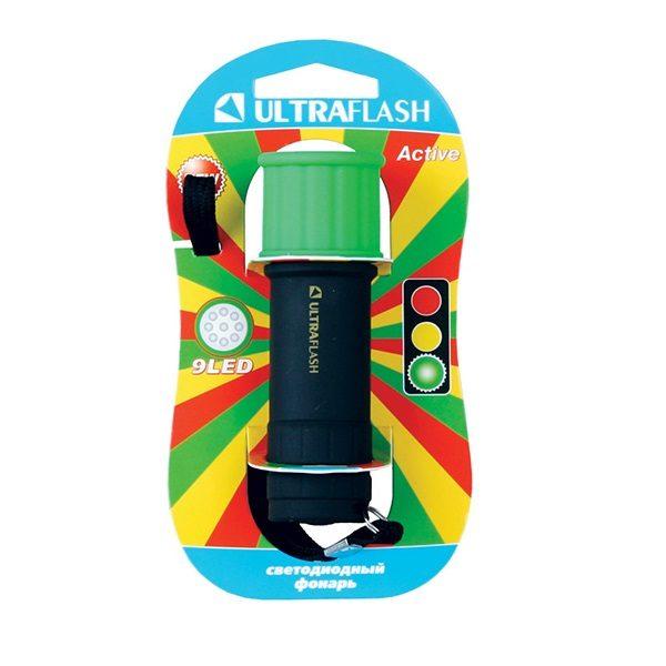 Фонарь LED 15001-A 9 LED Зеленый  (3xR03) ULTRAFLASH