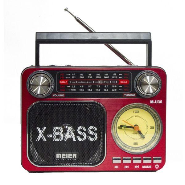 Радиоприемник MEIER M-U36 КРАСНЫЙ USB/SD/microSD/ФОНАРИК