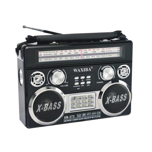 Радиоприемник WAXIBA XB-372 ЧЕРНЫЙ USB/SD/microSD/FM/ФОНАРИК