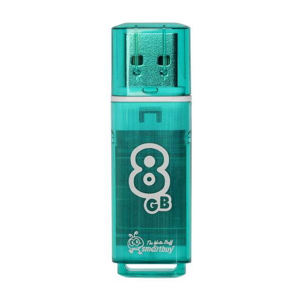 ФЛЭШ-КАРТА SMART BUY 8GB GLOSSY ЗЕЛЕНАЯ ГЛЯНЦЕВАЯ USB 2.0