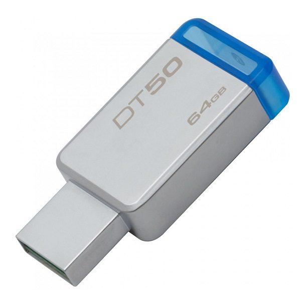 ФЛЭШ-КАРТА KINGSTON  64GB DT50 METAL/BLUE USB 3.0