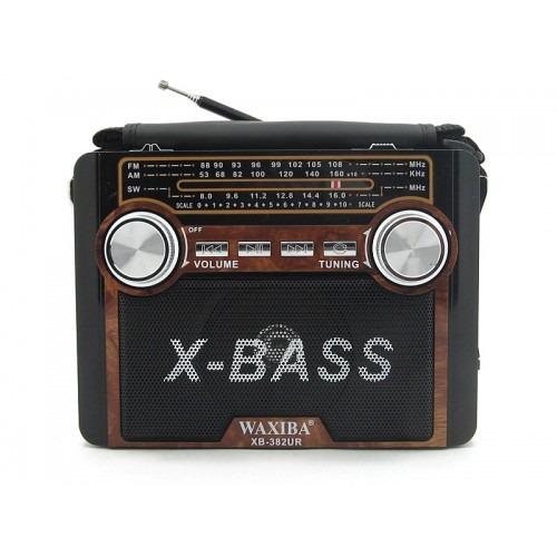 Радиоприемник WAXIBA XB-382 ЧЕРНЫЙ USB/SD/microSD/FM/ФОНАРИК