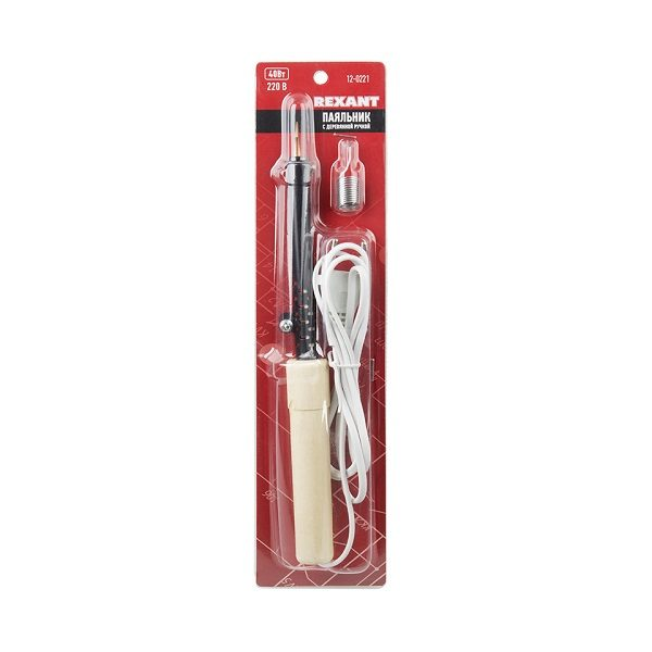 Паяльник ПД 220В 40Вт деревянная ручка  (в блистере)