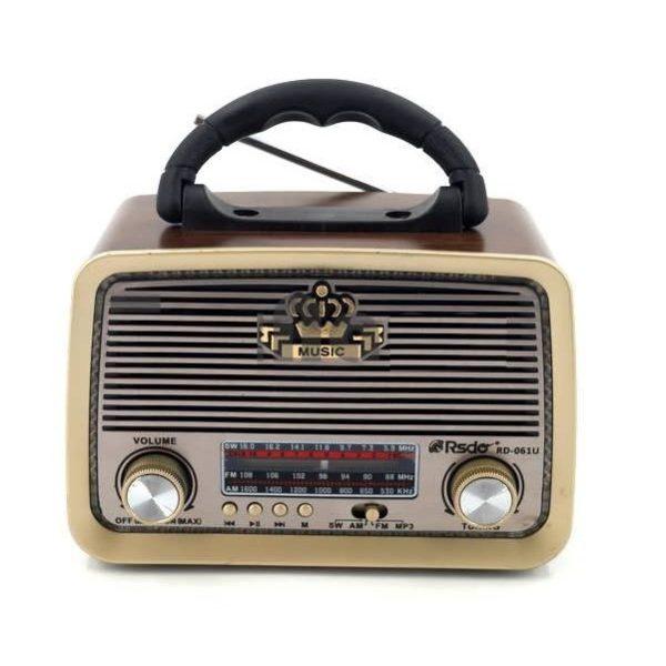 Радиоприемник RSDO RD-061U КОРИЧНЕВ BLUETOOTH/USB/SD/microSD