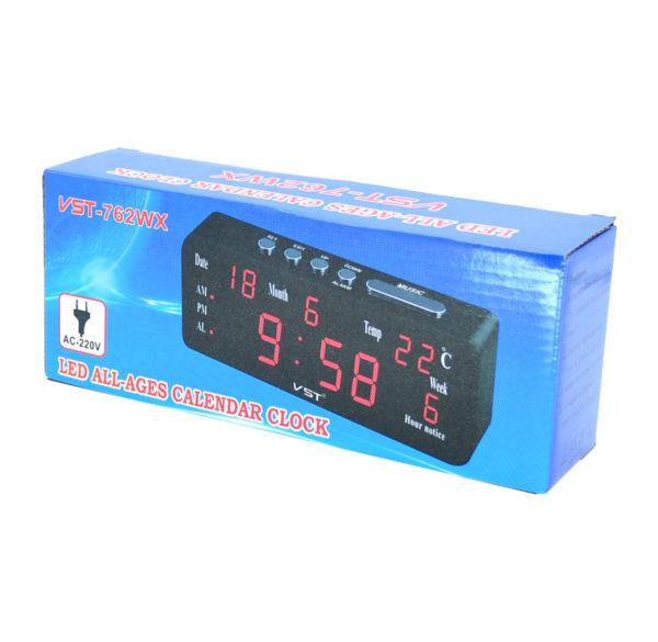 Часы VST762WX1 (дата, температура) НАСТОЛЬНЫЕ ЭЛЕКТРОННЫЕ КРАСНЫЕ