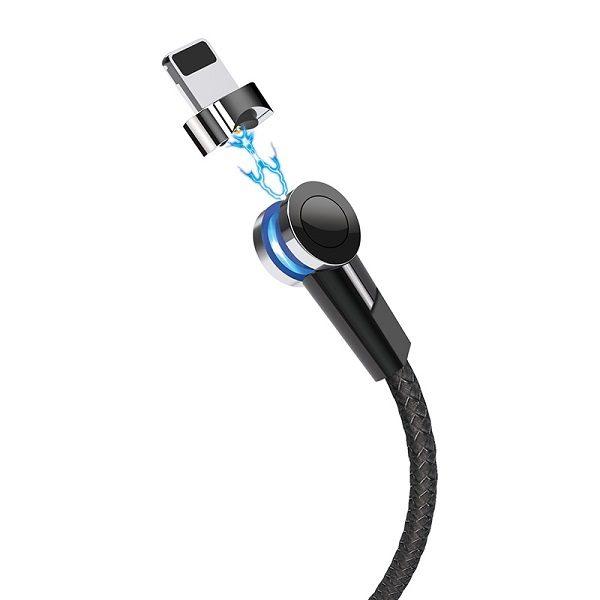 КАБЕЛЬ USB-iPHONE 5-8 1.2м S8 магнитный Чёрный
