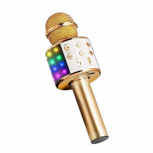 Микрофон 858L ДЛЯ КАРАОКЕ С BLUETOOTH ДИНАМИКОМ ЗОЛОТО