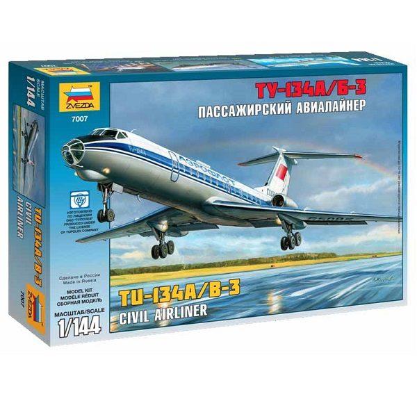 Сборная модель самолета Ту-134 А/Б-3 1:144 ZV-7007