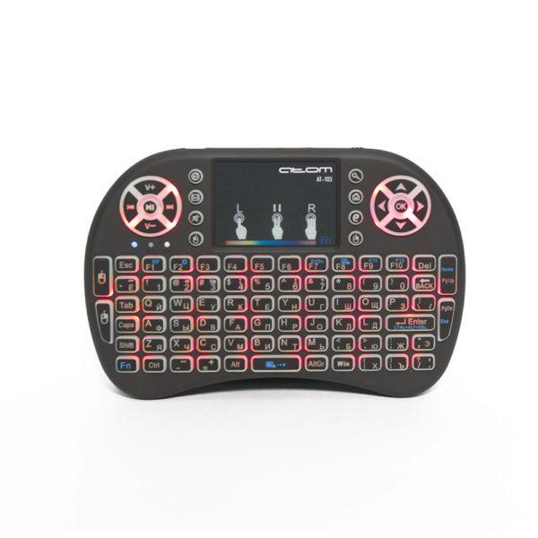 Беспроводная мини-клавиатура с тачпадом АТ-103, цветная подсветка, Атом